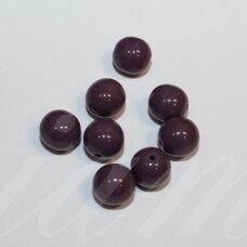 stk0142 apie 8 mm, apvali forma, tamsi, alyvinė spalva, stiklinis karoliukas, apie 30 vnt.