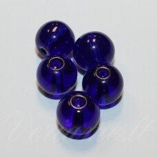 stk0059 apie 8 mm, apvali forma, skaidrus, mėlyna spalva, stiklinis karoliukas, apie 28 vnt.