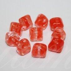 STK0077 apie 8 x 8 mm, oranžinė spalva, stiklinis karoliukas, 27 vnt.