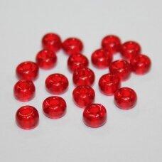 stk0083 apie 4 x 6 mm, raudona spalva, skaidrus, stiklinis karoliukas, apie 90 vnt.