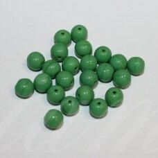 stk0031 apie 7 mm, apvali forma, žalia spalva, stiklinis karoliukas, 48 vnt.