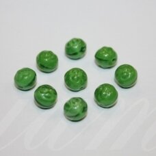 STK0085 apie 7 mm, apvali forma, žalia spalva, stiklinis karoliukas, 41 vnt.