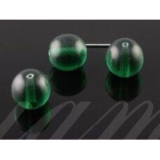 stk0087 apie 13 mm, tamsi, žalia spalva, skaidrus, stiklinis karoliukas, 6 vnt.