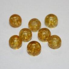 STK0096 apie 6 mm, apvali forma, skaidrus, gintaro spalva, stiklinis karoliukas, 68 vnt.