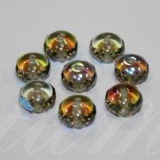 STK0102 apie 5.5 x 8 mm, rondelės forma, skaidrus, šviesi, dūmo spalva, AB danga, stiklinis karoliukas, apie 38 vnt.