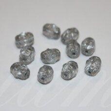 STK0103 apie 6.5 x 5 mm, pailga forma, raižytas, stiklinis karoliukas, 80 vnt.