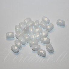STK0112 apie 5.6 x 3.5 mm, balta spalva, cilindro forma, stiklinis karoliukas, 180 vnt.