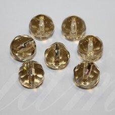 STK0113 apie 10 mm, apvali forma, briaunuotas, skaidrus, gelsva spalva, stikliniai karoliukai, apie 16 vnt.