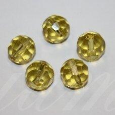 STK0114 apie 12 mm, apvali forma, briaunuotas, skaidrus, gelsva spalva, stiklinis karoliukas, 10 vnt.
