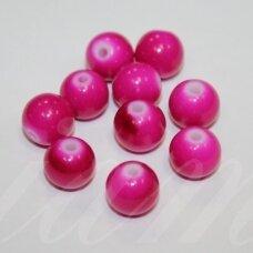 STK0118 apie 10 mm, apvali forma, tamsi, rožinė spalva, stiklinis karoliukas, 15 vnt.