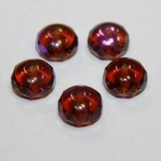 stk0128 apie 5 x 8 mm, rondelės forma, skaidrus, ruda spalva, ab danga, stiklinis karoliukas, apie 36 vnt.