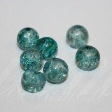 STK0143 apie 8 mm, apvali forma, skaidrus, elektrinė spalva, skaldyti, stikliniai karoliukai, apie 30 vnt.