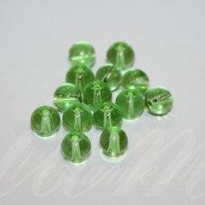 STK0151 apie 7 mm, apvali forma, skaidrus, žalia spalva, stikliniai karoliukai, apie 62 vnt.