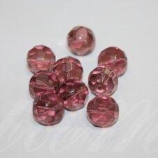 STK0162 apie 11 mm, alyvinė spalva, skaidrus, stiklinis karoliukas, 10 vnt.