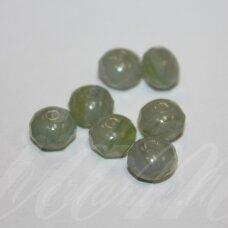 STK0165 apie 6 x 9 mm, rondelės forma, žalia spalva, margas, stikliniai karoliukai, 30 vnt.