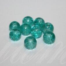 stk0178 apie 8 mm, apvali forma, skaidrus, melsvai žalia spalva, stiklinis karoliukas, 30 vnt.