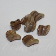STK0183 apie 6.5 x 9 mm, suktas, marga, rusva spalva, stiklinis karoliukas, apie 25 vnt.