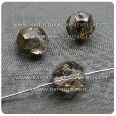 STK0203 apie 12 x 10.5 mm, helix forma, skaidrus, bronzinė spalva, stiklinis karoliukas, 10 vnt.