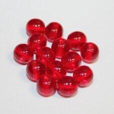 stk0158 apie 6 mm, apvali forma, skaidrus, raudona spalva, stiklinis karoliukas, apie 64 vnt.