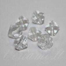 STK0222 apie 8 x 8 mm, bicone forma, skaidrus, stiklinis karoliukas, 45 vnt.