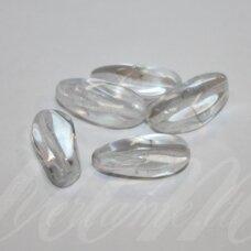 STK0253 apie 18 x 7 mm, pailga forma, skaidrus, stiklinis karoliukas, 14 vnt.