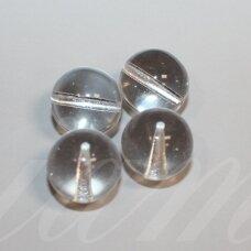 stk0007 apie 11 mm, apvali forma, skaidrus, stiklinis karoliukas, 4 vnt.