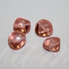 stk0279 apie 12 x 9 x 12 mm, skaidrus, šviesi, rožinė spalva, stiklinis karoliukas, 16 vnt.