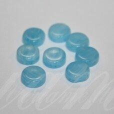 STK0281 apie 8 x 3 mm, žydra spalva, stikliniai karoliukai, 55 vnt.