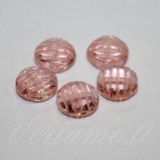 STK0284 apie 12 x 6 mm, disko forma, skaidrus, šviesi, rožinė spalva, stikliniai karoliukai, 15 vnt.