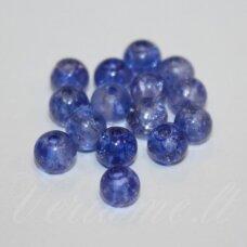 stk0290 apie 6 mm, apvali forma, mėlyna spalva, stiklinis karoliukas, 66 vnt.