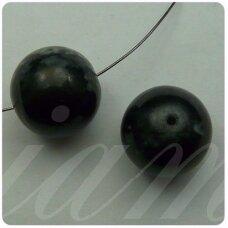 stk0291 apie 16 mm, apvali forma, marga, juoda spalva, stiklinis karoliukas, 4 vnt.