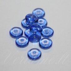STK0300 apie 2.5 x 6 mm, disko forma, skaidrus, mėlyna spalva, stikliniai karoliukai, apie 125 vnt.