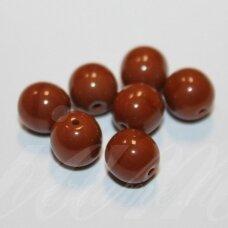 STK1173 apie 8 mm, apvali forma,  ruda spalva, stiklinis karoliukas, apie 28 vnt.