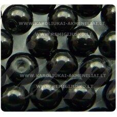 stk0323 apie 4.5 mm, juoda spalva, apvali forma, stiklinis karoliukas, apie 180 vnt.