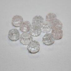 stk0325 apie 6.5 x 7 mm, briaunuotas, skaidrus, stiklinis karoliukas, 52 vnt.