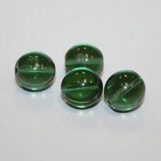 STK0357 apie 12 mm, apvali forma, skaidrus, tamsi, žalia spalva, stiklinis karoliukas, 8 vnt.