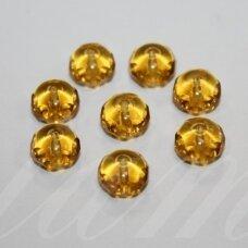 STK0369 apie 6 x 9 mm, rondelės forma, skaidrus, geltona spalva, stikliniai karoliukai, 30 vnt.