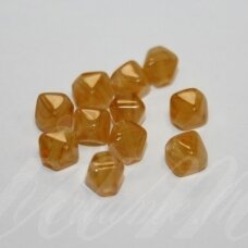 STK0381 apie 6 x 5 mm, geltona spalva, skaidrus, stiklinis karoliukas, apie 80 vnt.