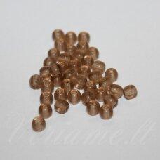 stk0382 apie 3.5 mm, apvali forma, skaidrus, rusva spalva, stiklinis karoliukas, apie 260 vnt.