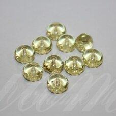stk0399 apie 6 x 8.5 mm, rondelės forma, skaidrus, geltona spalva, stiklinis karoliukas, apie 35 vnt.