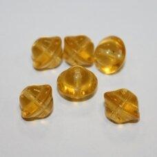 stk0407 apie 10 x 12 mm, skaidrus, gelsva spalva, stiklinis karoliukas, 15 vnt.