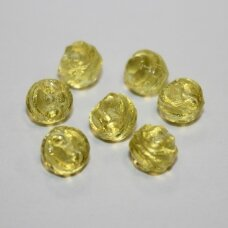 STK0433 apie 7 mm, skaidrus, geltona spalva, stiklinis karoliukas, apie 40 vnt.