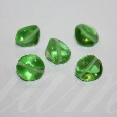 stk0435 apie 11 x 12 mm, netaisyklinga forma, skaidrus, žalia spalva, stiklinis karoliukas, 18 vnt.