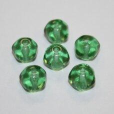 stk0439 apie 7 x 8.5 mm, skaidrus, žalia spalva, stiklinis karoliukas, 28 vnt.