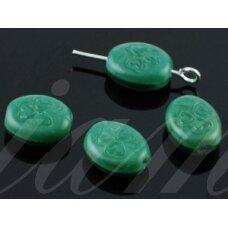 stk0445 apie 10.2 x 8.5 x 4.6 mm, žalia spalva, stiklinis karoliukas, 30 vnt.