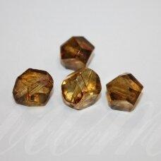 STK0456 apie 14 mm, briaunuotas, skaidrus, gintaro spalva, stikliniai karoliukai, 8 vnt.