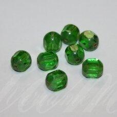 STK0457 apie 8 x 7 mm, žalia spalva, stiklinis karoliukas, 22 vnt.
