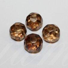 STK0459 apie 12 mm, apvali forma, briaunuotas, skaidrus, stikliniai karoliukai, rusva spalva, stikliniai karoliukai,