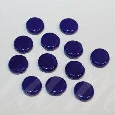 stk0461 apie 8 x 3 mm, disko forma, mėlyna spalva, dviejų skylių, stiklinis karoliukas, apie 64 vnt.