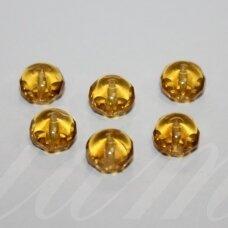 STK0464 apie 6 x 9 mm, rondelės forma, skaidrus, geltona spalva, stikliniai karoliukai, 30 vnt.